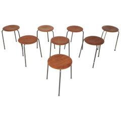 Set of Danish Modern Teak Stacking Stools Attributed to Arne Jacobsen, Denmark