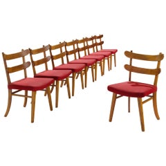 Set of Danish Solid Elm Chairs in Red Fabric