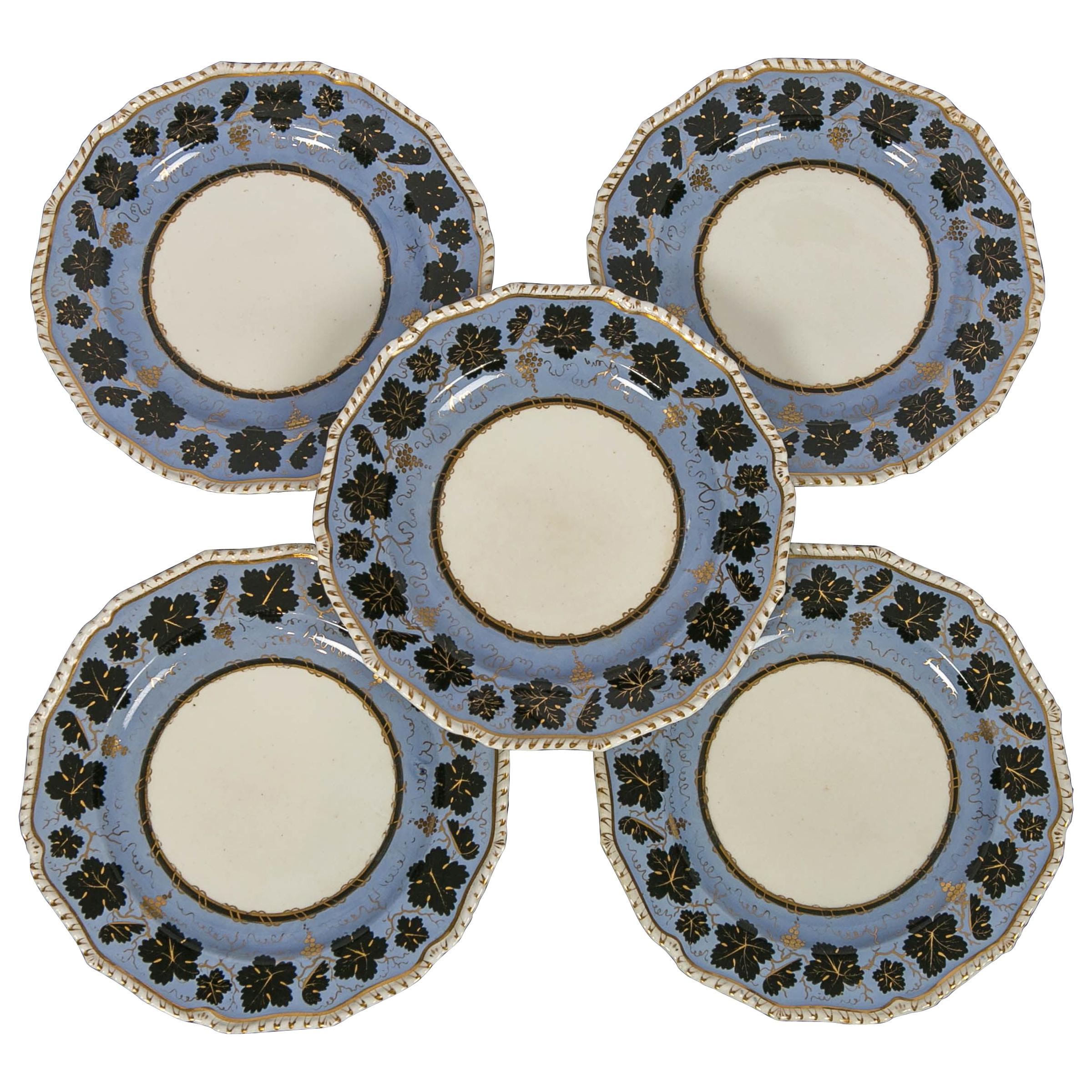Set of Twelve Derby Cornflower Blue Dishes Made England circa 1830
