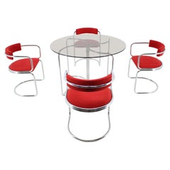 Set of Design Chrome Dining Chairs and Table in Style of Gastone Rinaldi, 1980s