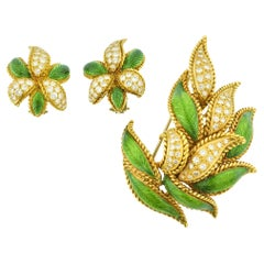 Set of Diamond Enamel and Gold Leaf Brooch and Earrings