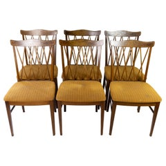 Set of Dining Room Chairs of Walnut and Upholstered with Dark Fabric, 1940s