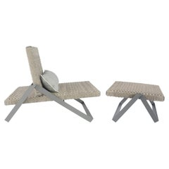 Set of Dobra Outdoor Lounge Chair and Footstool 'Chaise' by Filipe Ramos
