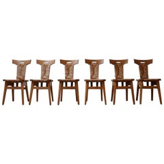 Set of Dutch Arts & Crafts Dining Chairs by W Kuyper