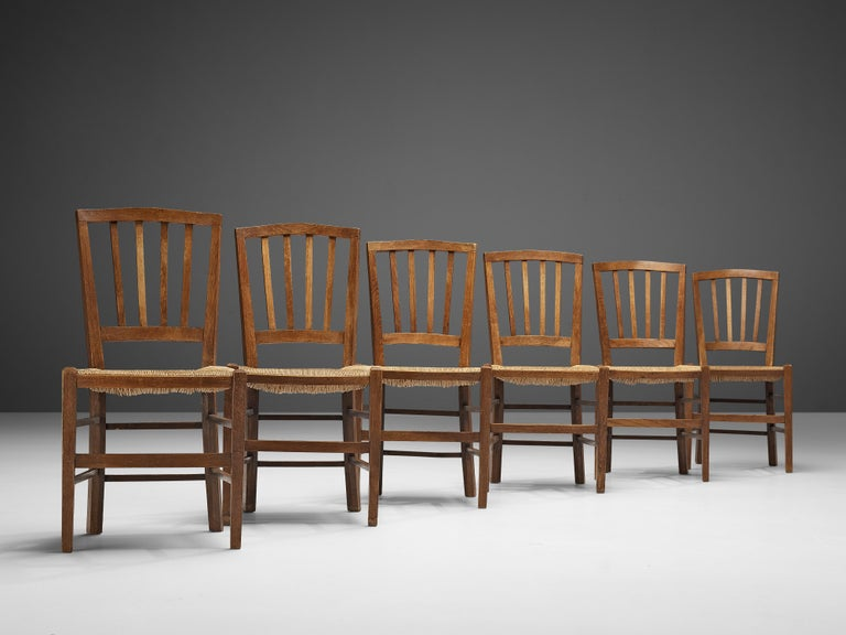 Rope Dutch Dining Chairs in Stained Oak and Paper Cord Seating For Sale