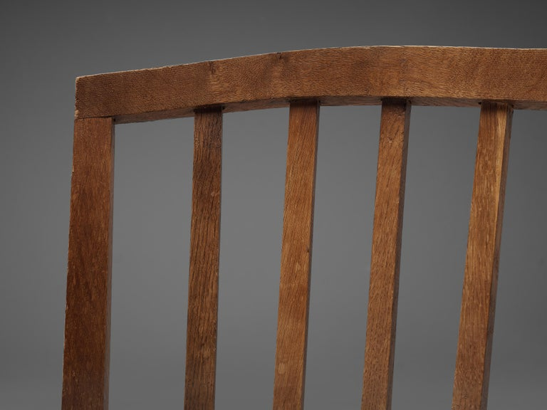 Dutch Dining Chairs in Stained Oak and Paper Cord Seating For Sale 2