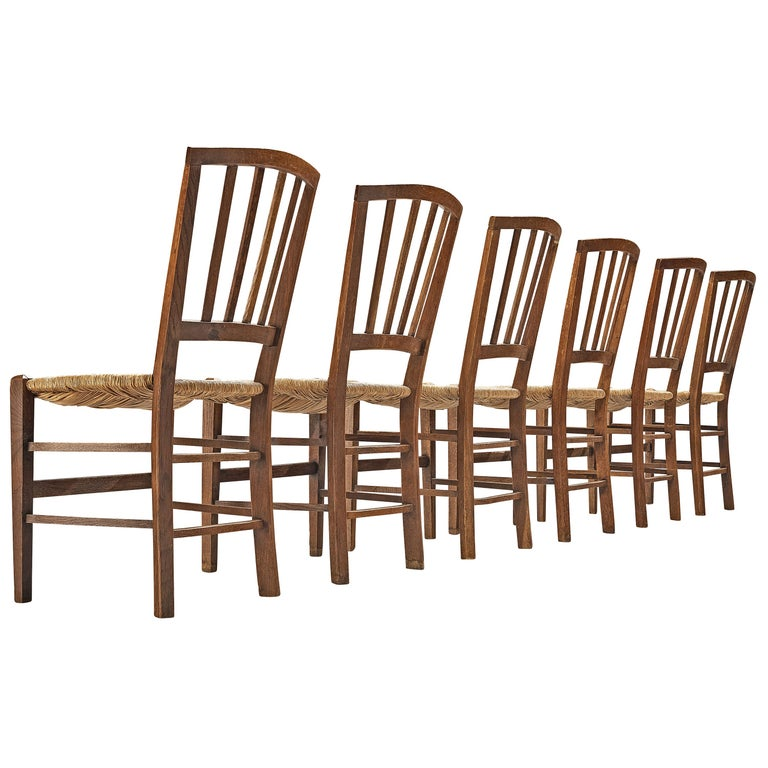 Dutch Dining Chairs in Stained Oak and Paper Cord Seating For Sale