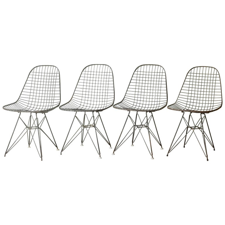 Set of Eames for Herman Miller Wire DKR Chairs, circa 1950 For Sale