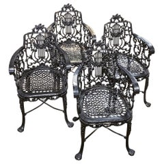 Set of Early Cast Iron Armchairs by the Robert Wood Foundry