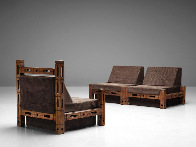 Set of Easy Chairs in Wood and Brown Fabric Upholstery For Sale 4