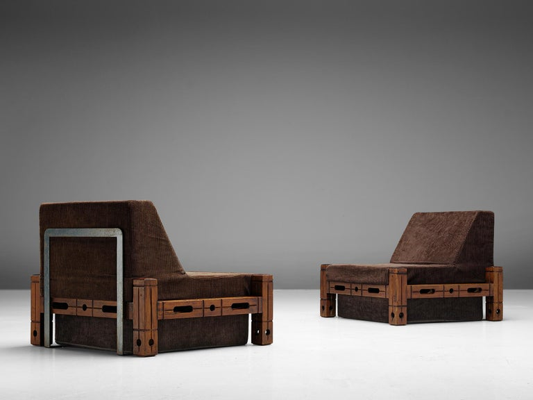 Set of easy chairs, wood and upholstery, Germany, 1960s.