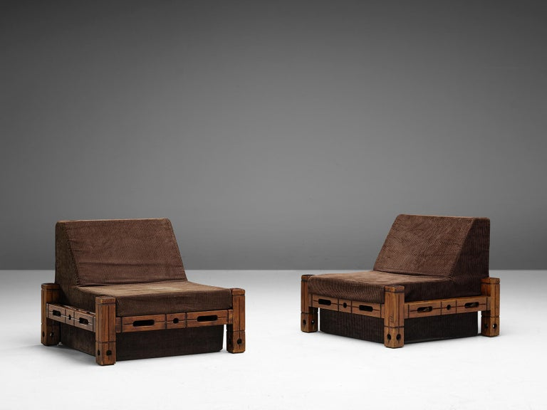 Mid-Century Modern Set of Easy Chairs in Wood and Brown Fabric Upholstery For Sale