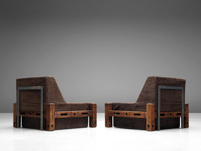 European Set of Easy Chairs in Wood and Brown Fabric Upholstery For Sale
