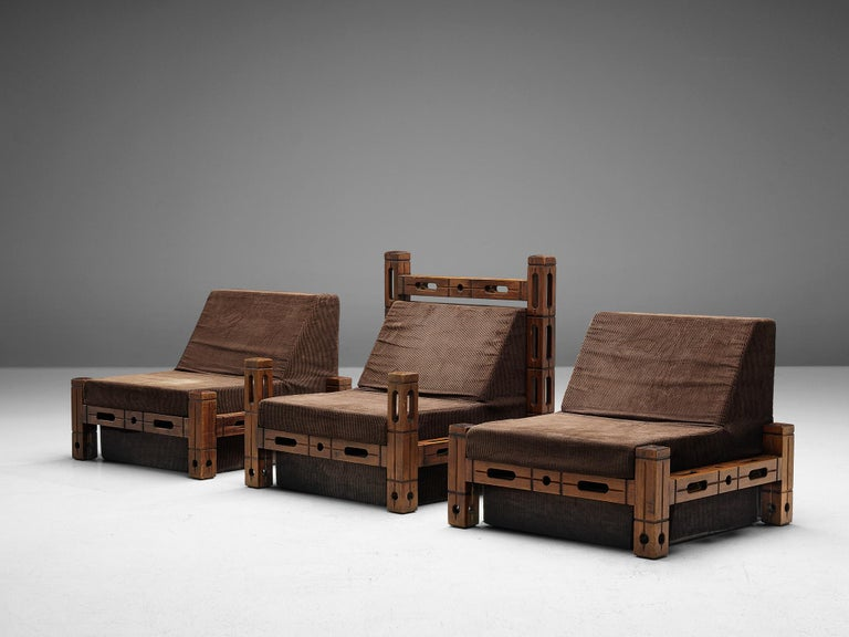 Set of Easy Chairs in Wood and Brown Fabric Upholstery For Sale 3