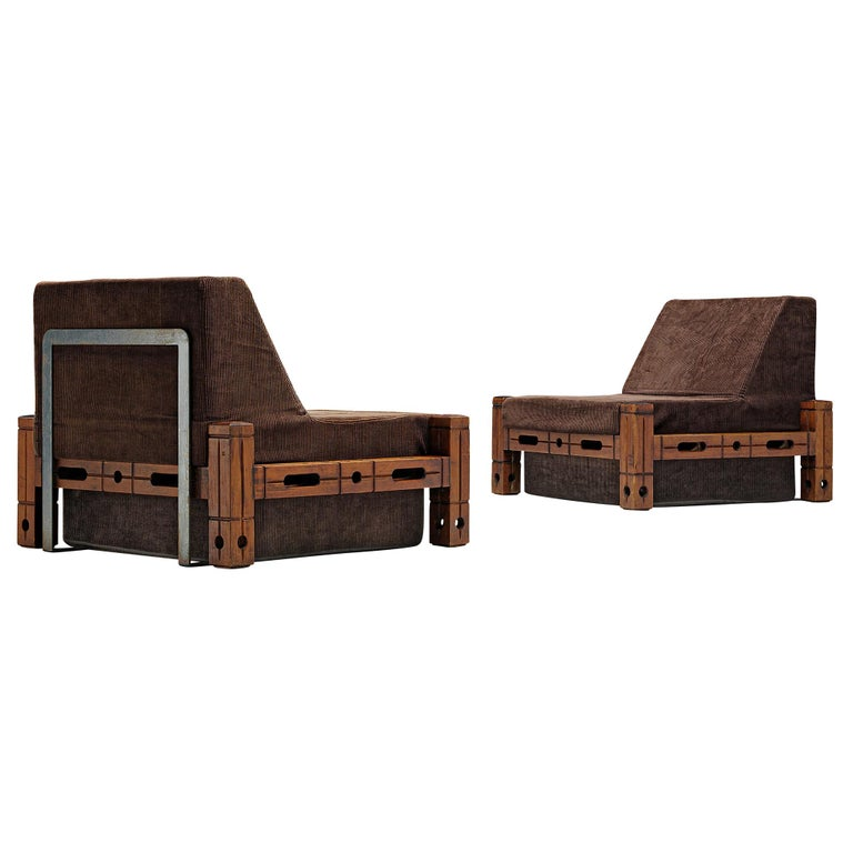 Set of Easy Chairs in Wood and Brown Fabric Upholstery For Sale