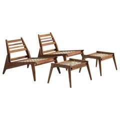Set of Easy Chairs with Ottomans in Oak, 1950s