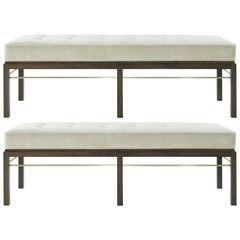 Set of Edward Wormley for Dunbar Brass Stretcher Benches, 1950s