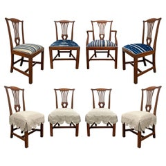 Set of Eight 18th Century Chippendale Dining Chairs with Custom Slipcovers