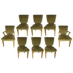 Set of Eight 1940s Hollywood Regency Upholstered Dining Chairs