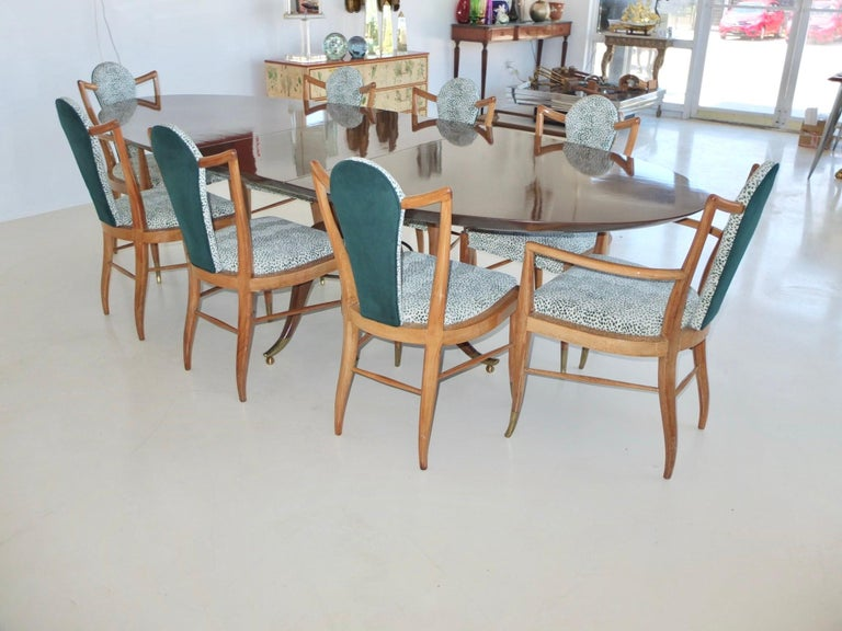 Set of Eight 1950s Dining Chairs by Adolfo Genovese In Good Condition For Sale In Hingham, MA