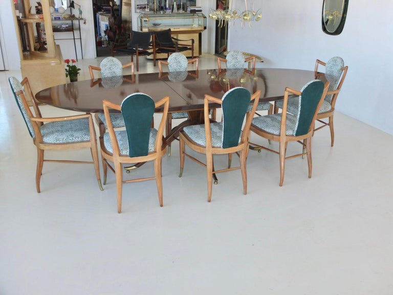 Brass Set of Eight 1950s Dining Chairs by Adolfo Genovese For Sale