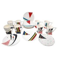 Set of Eight 1980s Postmodern Kato Kogei Fujimori Alpha 3 Mugs and Plates