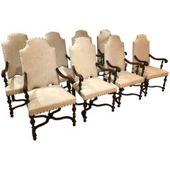 Set of Eight 19th Century Baroque Styled French Armchairs Upholstered in Linen