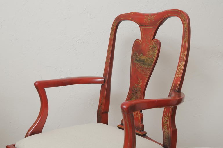Set of Eight 19th Century Chinoiserie Style Dining Chairs For Sale 10