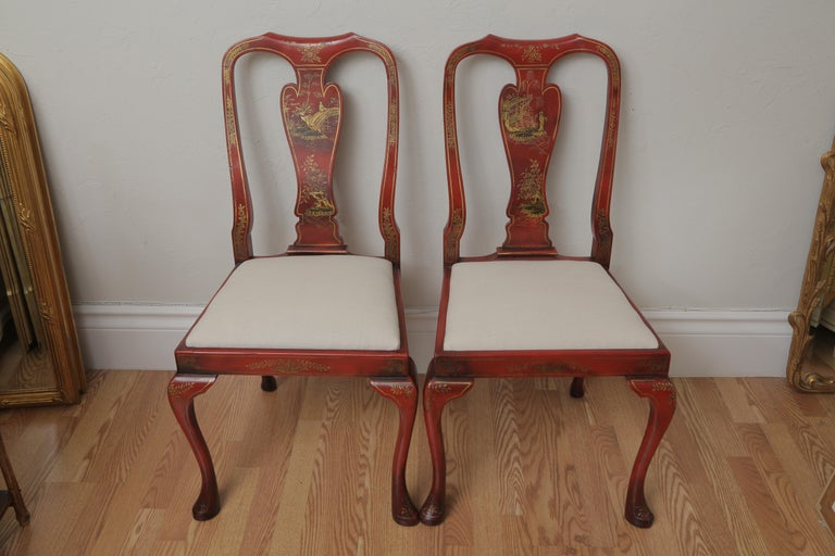 English Set of Eight 19th Century Chinoiserie Style Dining Chairs For Sale