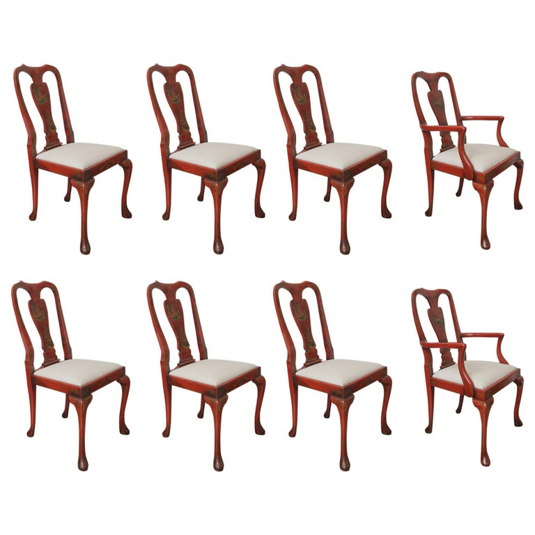 Set of Eight 19th Century Chinoiserie Style Dining Chairs For Sale