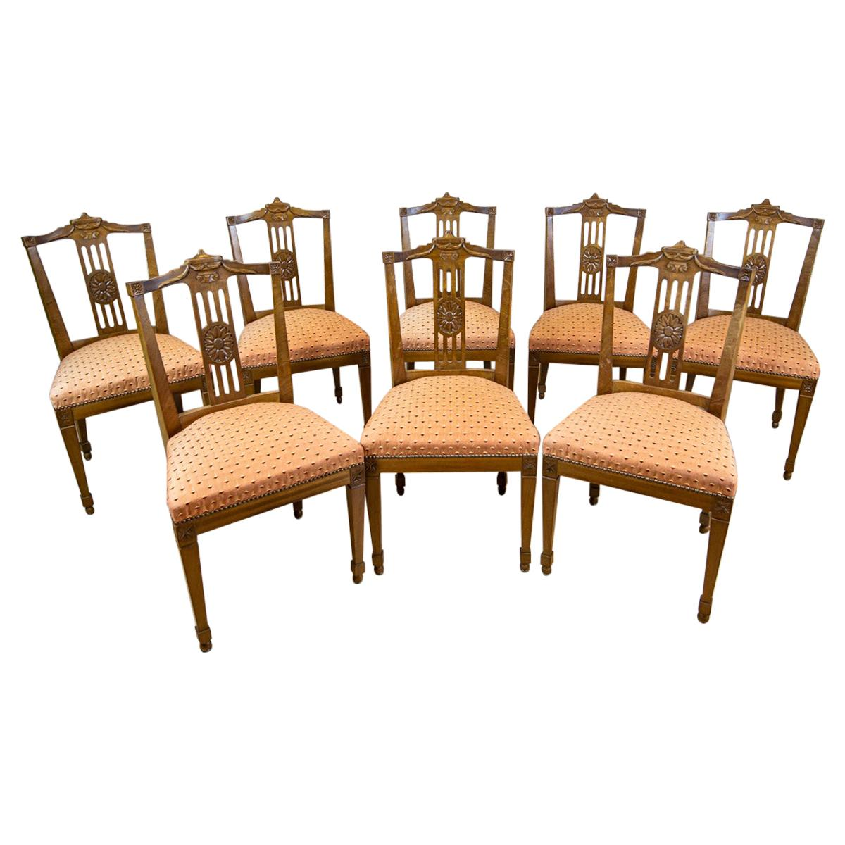 Set of Eight 19th-Century Empire Ash Chairs
