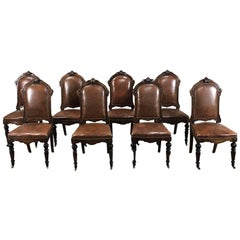 Set of Eight 19th Century French Walnut Renaissance Dining Chairs