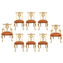 Set of Eight 19th Century Italian Chippendale St. Chairs