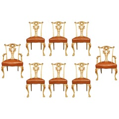 Set of Eight 19th Century Italian Chippendale Style Chairs