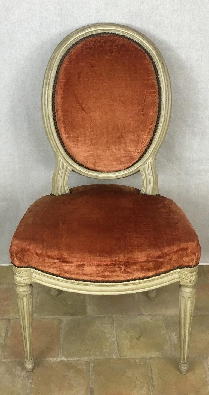 Velvet Set of Eight 19th Century Louis XVI Medaillon Dining Chairs