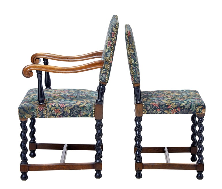 Victorian Set of Eight 19th Century Oak Barley Twist Dining Chairs For Sale
