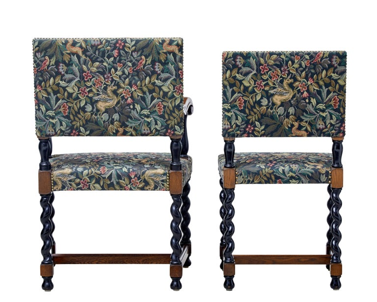 English Set of Eight 19th Century Oak Barley Twist Dining Chairs For Sale