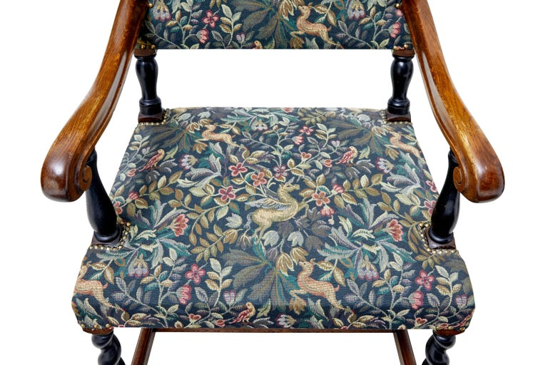 Carved Set of Eight 19th Century Oak Barley Twist Dining Chairs For Sale