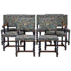 Set of Eight 19th Century Oak Barley Twist Dining Chairs