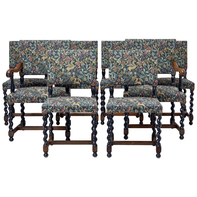 Set of Eight 19th Century Oak Barley Twist Dining Chairs For Sale