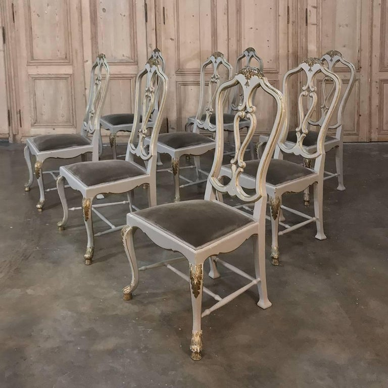 Dinette Chairs For Sale: Set Of Eight 19th Century Grey Painted And Gilded Italian