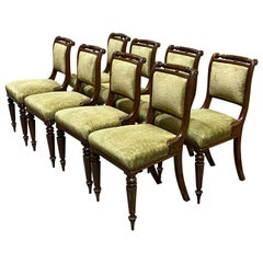 Set of Eight 19th Century Regency Mahogany Upholstered Dining Chairs