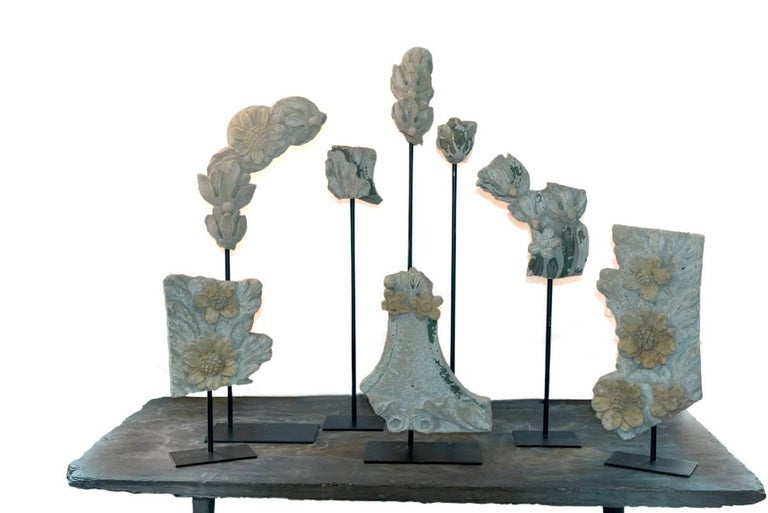 Set of Eight 19th Century Stone Fragments on Stands For Sale 4