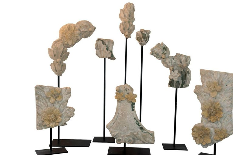 Set of Eight 19th Century Stone Fragments on Stands For Sale 5