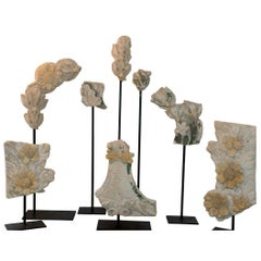 Set of Eight 19th Century Stone Fragments on Stands