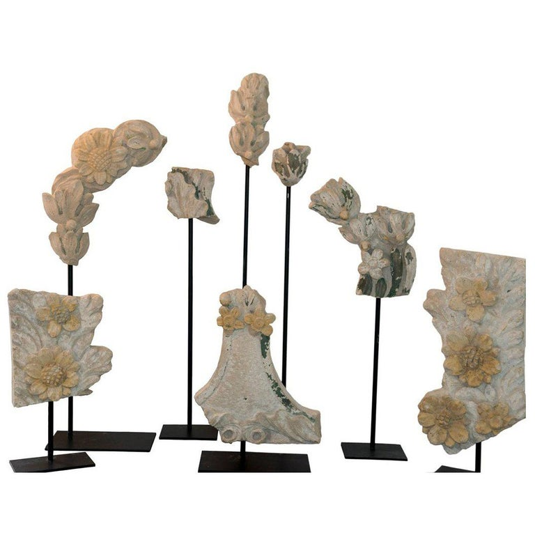 Set of Eight 19th Century Stone Fragments on Stands For Sale