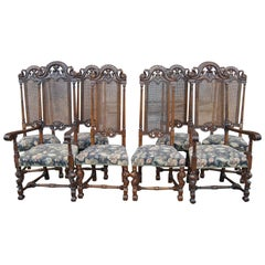 Set of Eight 19th Century Tall Back Walnut William and Mary Style Chairs