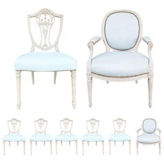 Set of Eight 20th Century Dining Chairs with Blue Leather Seats, 6 Sides, 2 Arms