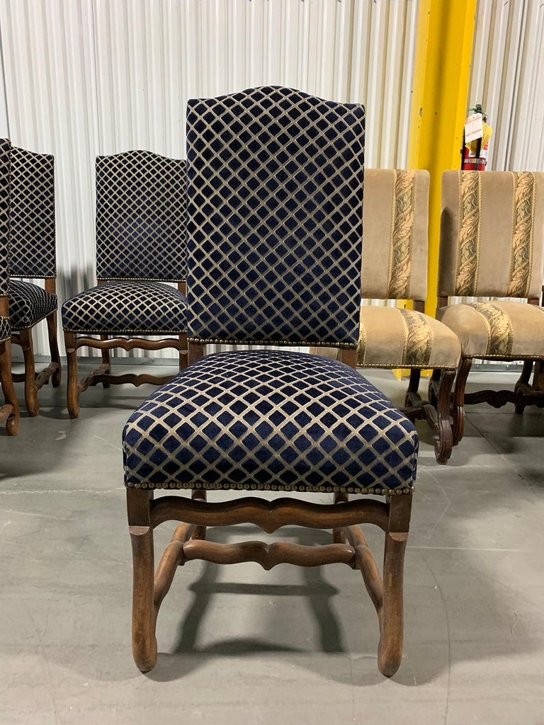Louis XIII Set of Eight 20th Century French Louis XII Os de Mouton Dining Chairs For Sale