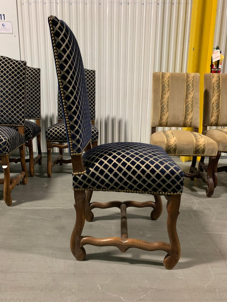 Upholstery Set of Eight 20th Century French Louis XII Os de Mouton Dining Chairs For Sale